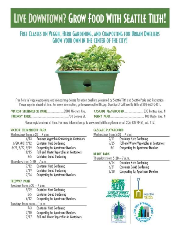 Free Gardening Classes Presented by Seattle Tilth