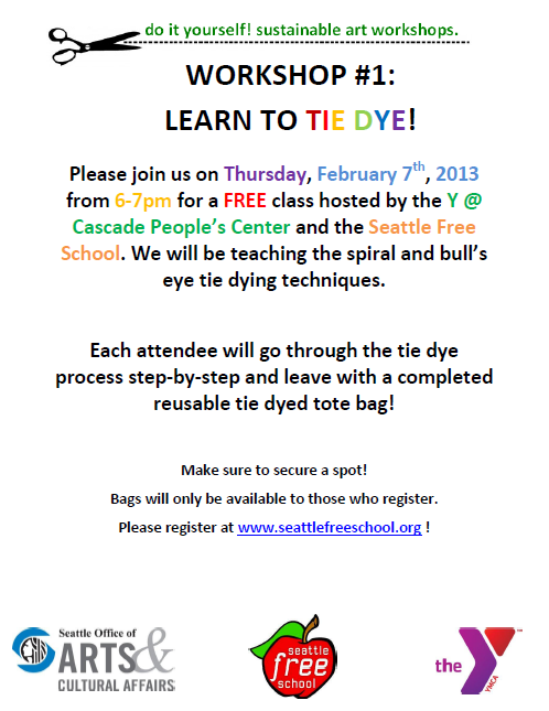 Diy workshop 1 learn to tie dye cascade peoples center arts award from the city of seattle office of arts and cultural affairs we will be hosting a series of eco conscious do it yourself workshops solutioingenieria Choice Image